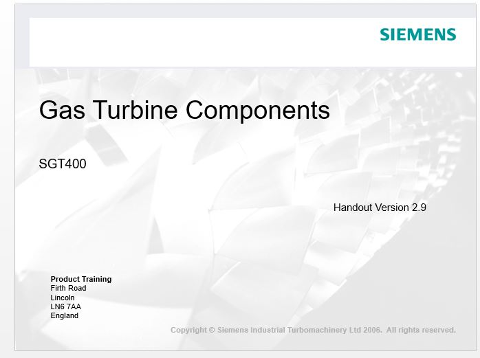 Gas Turbine Components SGT400 Siemens - Mechanical Engineering